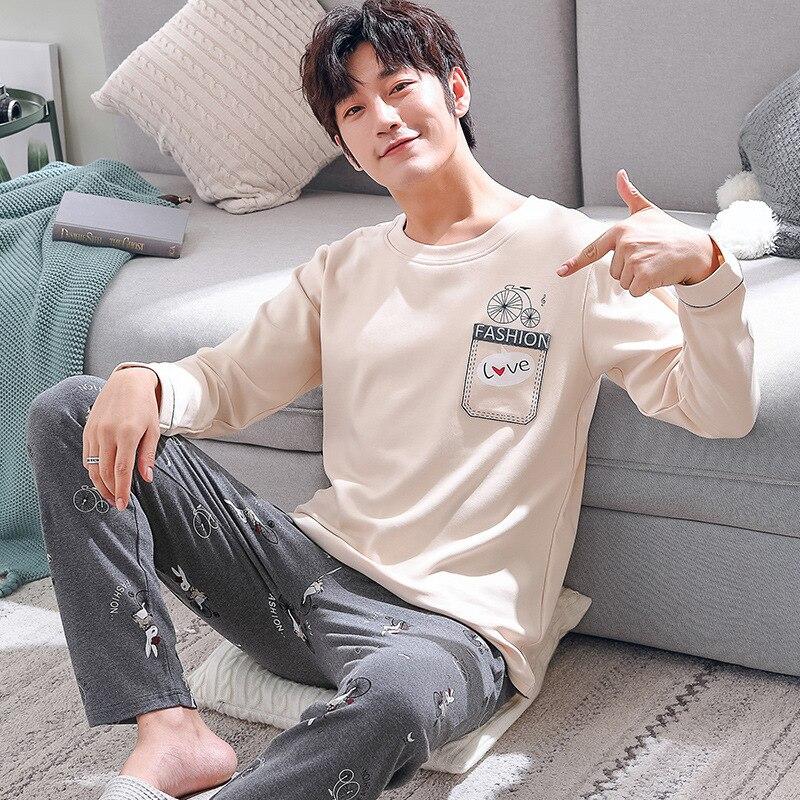 Oversize Men O-Neck Sleepwear Comfortable Cotton Home Clothing Long Sleeve Sweet Cartoon Pajamas Pyjamas Suit 2PCS Sleep Set