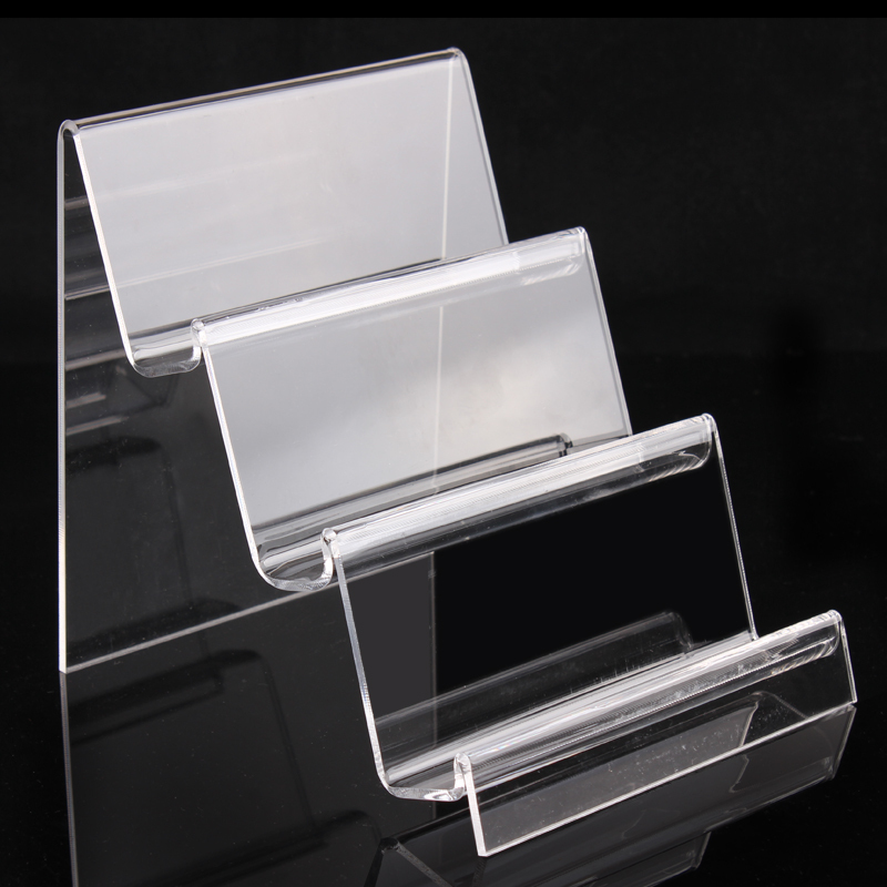 Exhibition Stand Cases : Clear 3 layers ladder acrylic cellphone display stand holder rack