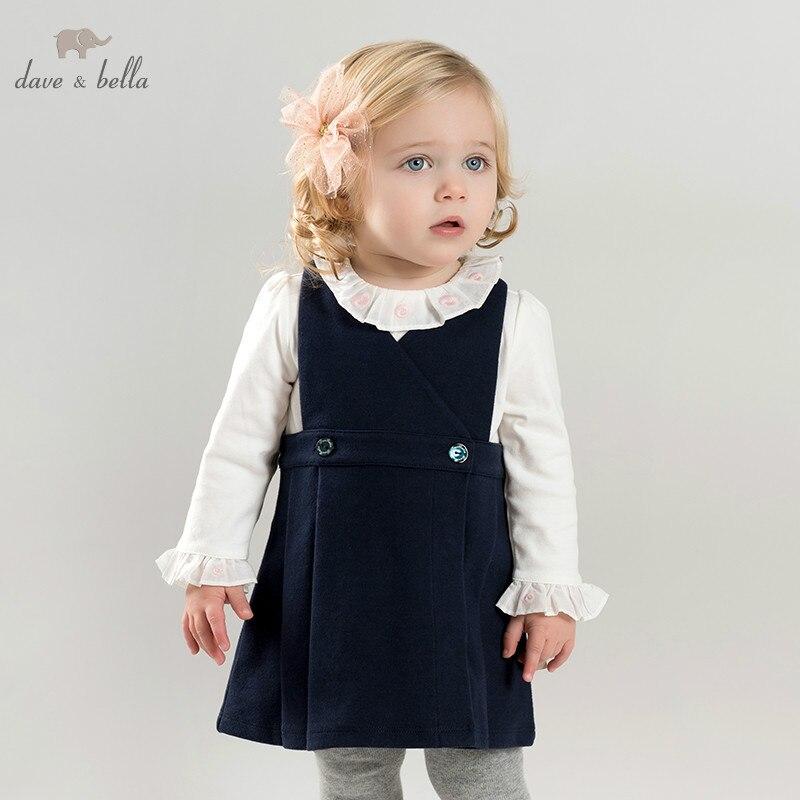 DB10159 dave bella bébé bleu marine robe filles sans manches printemps robes enfants filles robe enfants fête d'anniversaire boutique robe