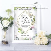 free shipping 1 pcs custom logo picture Wedding Welcome board business party sign Welcome card for baby's one hundred day feast