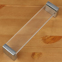 160mm Top Quality Modern Fashion Deluxe Glass Furniture Handle Silver Wardrobe Dresser Handle 6 3 Chrome