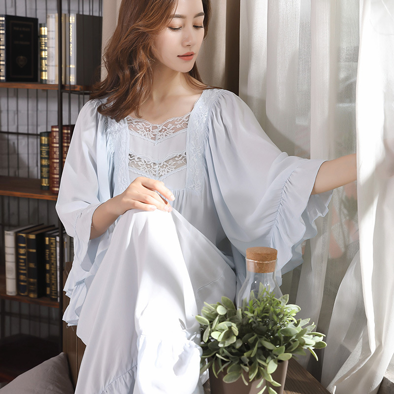 New Princess Blue   Nightgowns   Women's Sexy V Collar Lace Cotton Pyjama Long Sleeve   Sleepshirts   Female Sleepwear Plus Size 4XL