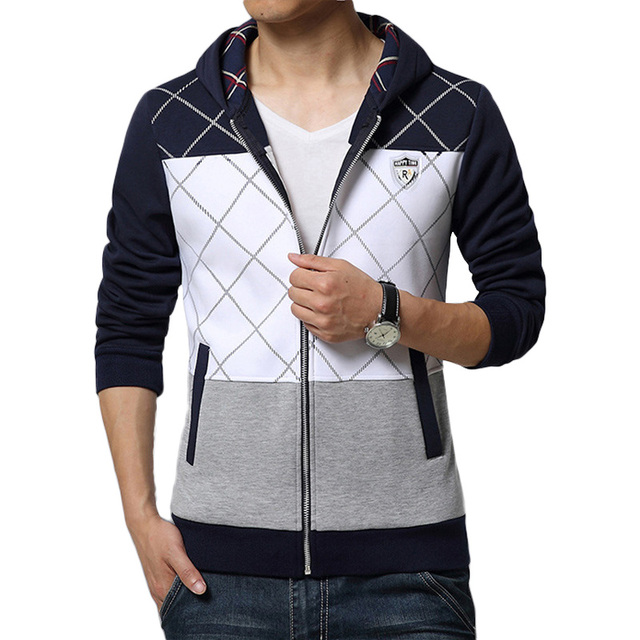 New Arrive 2017 Men Casual Hoodies Spring Brand Fashion Slim Fit Zipper Men Sweatershirt Plaid Patchwork Clothing