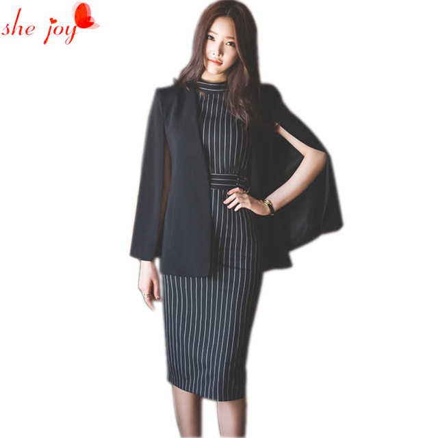 Fashion Korea S Women Dress Suit New Cloak Stripes Dress Knee