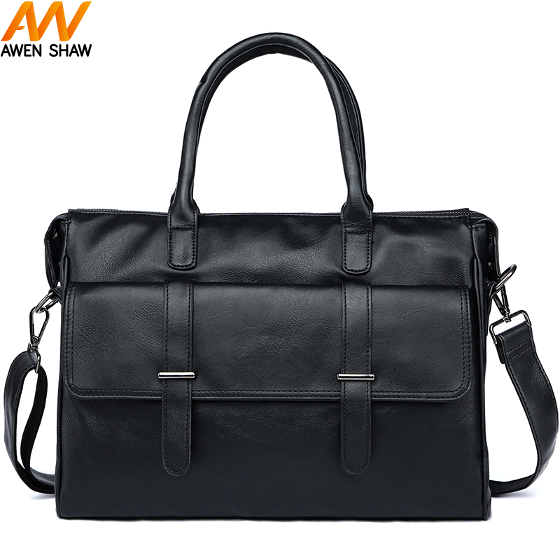 Awen Shaw Casual Men's Briefcase PU Leather Postman Bag Men Retro Business Laptop Briefcase Bag Vintage Office Briefcase Tote