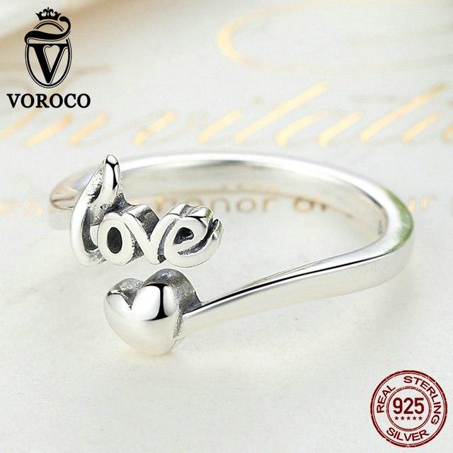 VOROCO Reale 100% 925 Sterling Silver Amore e Cuore Minimalista Semplice Anello Aperto Regolabile Donne & Lady Fine Jewelry SCR024
