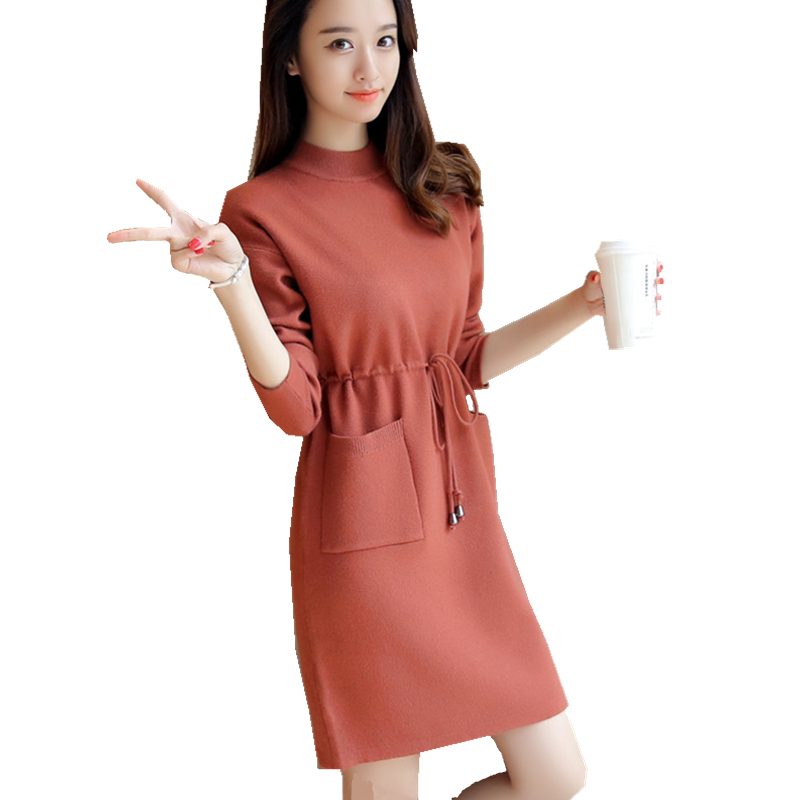 2018 Fashion Women Autumn Winter Sashes Knitwear Dresses Female Solid Color Button Elegant Knitted Sweater Dresses With Belt Q3
