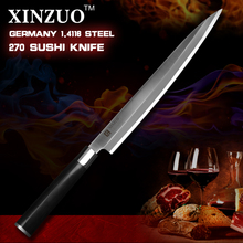 XINZUO 10.5 inch sashimi knife scabbard German steel kitchen knife one-sided cleaver knife sushi knife ebony handle free shiping