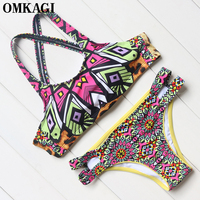 מותג 2017 נשים הדפסת רטרו OMKAGI תחבושת ביקיני סט ברזילאי ביקיני נמוך מותן מרופד לדחוף את בגדי ים בגדי ים החוף