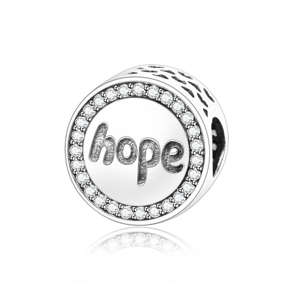 2018 New Arrivals 925 Sterling Silver Hope Round Charms Beads With Clear CZ Fit Original Pandora Charm Bracelet DIY Jewelry