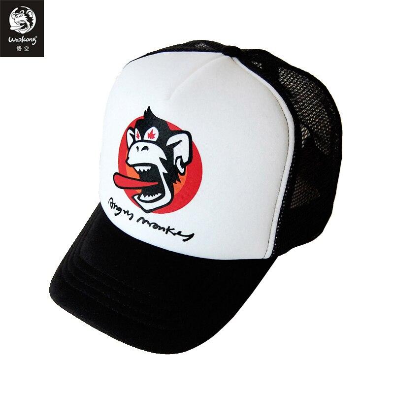 Prix pour Le Wookong 2017 de marque d'été coton respirant hommes femmes casquettes de baseball adultes noir blanc rouge patchwork en colère singe imprimé
