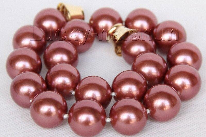 """LIVRAISON GRATUITE vente CHAUDE nouveau Style>>>>> 18 """"20mm ronde vin rouge shell perles collier aimant fermoir j10052"""