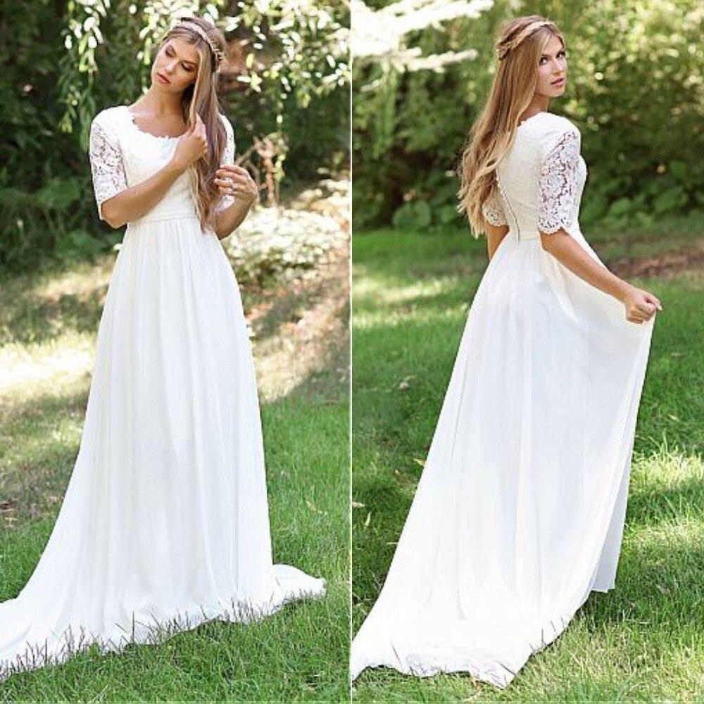0d4732ee2 2019 una línea De vestidos De Novia De encaje apliques vestidos De Novia De  cuello redondo Vestido ...