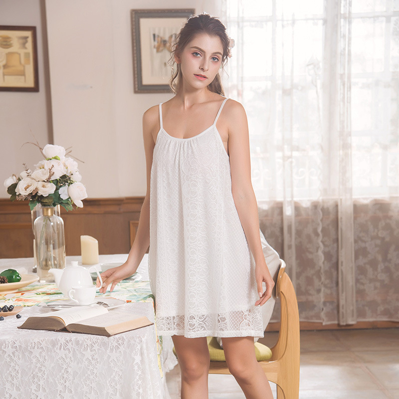 2019 New Sleepwear Women Short   Nightgown   Spaghetti Strap Nightwear hollowed-out Lace   Sleepshirts   Embroidered Nightdress 096#