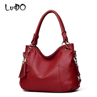 LUCDO Fashion Leather Handbags Women Large Capacity Vintage Tassel Casual Tote Bags Ladies Crossbody Shoulder Bag Big Sac A Main