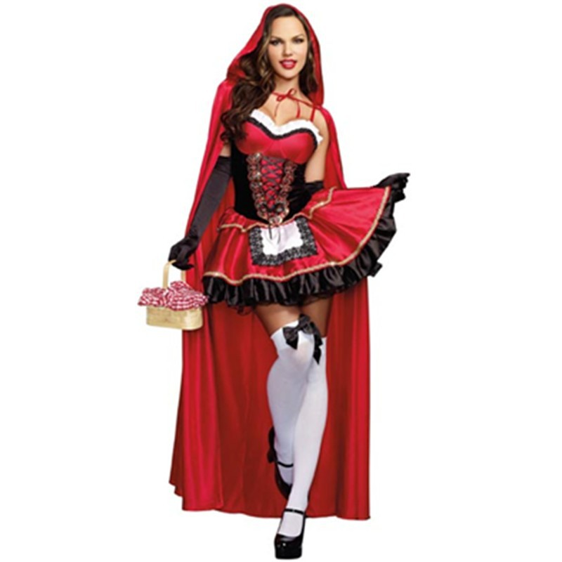 M L XL Size Hot Sale Storybook & Fairytale Red Long Cape Little Red Riding Hood Costumes Halloween Cosplay Fancy Dress L15205 L15205 800x800