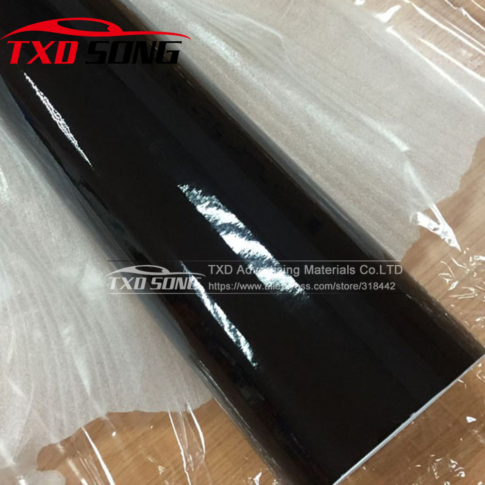 1.52*30 m Noir Brillant Noir Brillant Vinyle Voiture Decal Envelopper Autocollant Noir Brillant Film Wrap Détail Pour CAPOT toit Moto Scooter