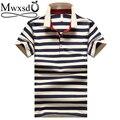 Бренд Mwxsd мужская полосатая хлопковая рубашка поло с коротким рукавом мужская Повседневная рубашка поло дышащая мужская брендовая одежда ...