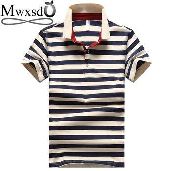 8b0596fa782 Product Offer. Марка mwxsd Для мужчин в полоску хлопок рубашки поло с  коротким рукавом Для мужчин Повседневное рубашка-поло ...