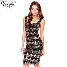 Golden Wave Sequin Dress Women Backless Bla Sheer Shift Dresses Party Cut Out Mesh Sleeveless V Neck Vestidos