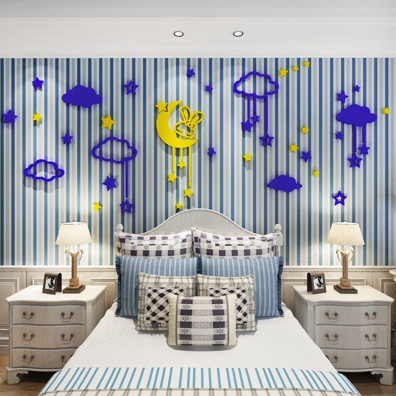 2018 new Stars and moon warm 3D solid wall stickers cartoon children 39 s room background wall boys and girls bedside decoration in Wall Stickers from Home amp Garden