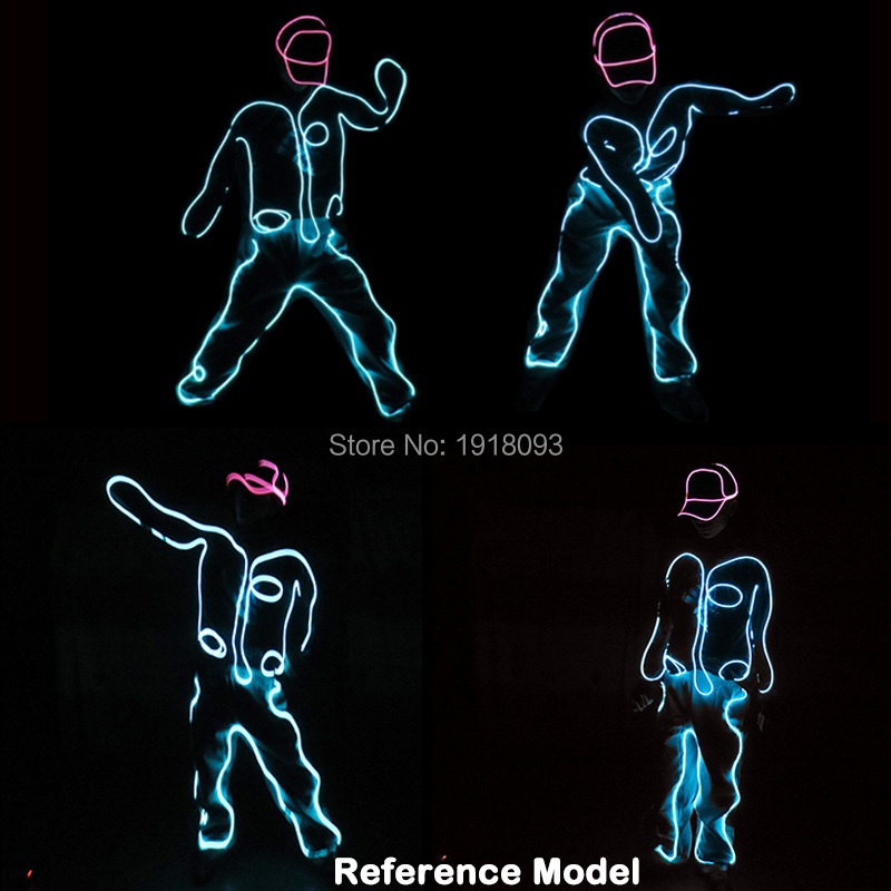 Brand Design EL Lighting Suits Neon EL Wire Luminous Dance Costumes LED Strip Suits for Stage Performance