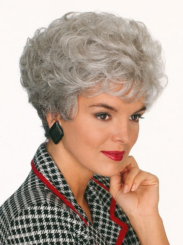 Middle Aged And Old Women Wigs Silvery White Gray Wig Old