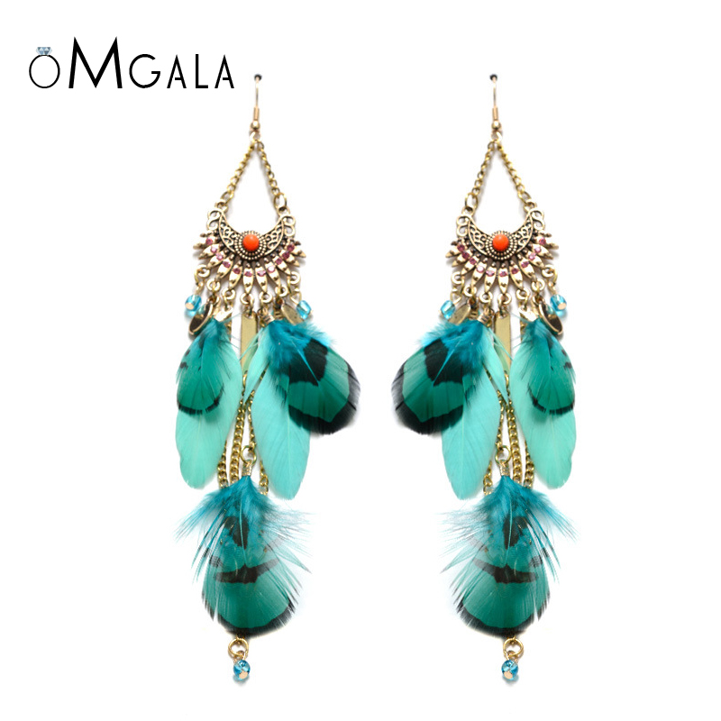 Doelstelling Omgala Vrouwen Boho Etnische Druppel Veer Oorbellen Pins Bohemian Tassel Verklaring Dangle Earring Voor Vrouwen Decoratie Sieraden