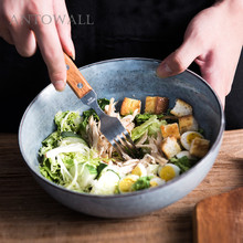 ANTOWALL Nordic simple style home grey ceramics tableware eating rice bowl noodle soup bowl salad bowl round white black ceramic salad bowl gold japanese style noodle container for soup rice bowl ceramica set kitchen tool tableware