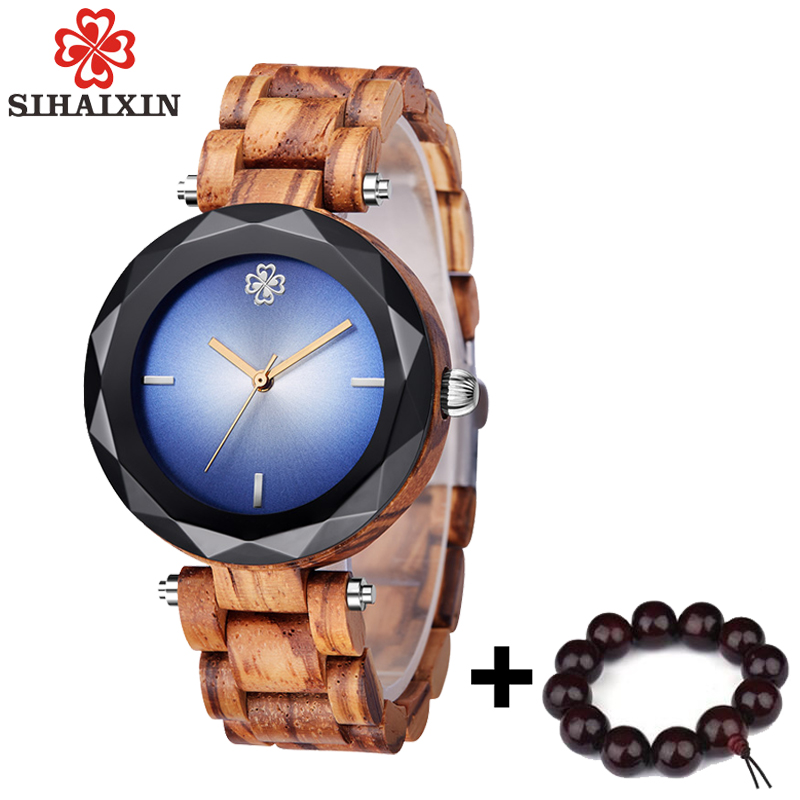 SIHAIXIN Newest Bule Wood Watch Women With Gem Glass Luxury All Wooden Band Quar