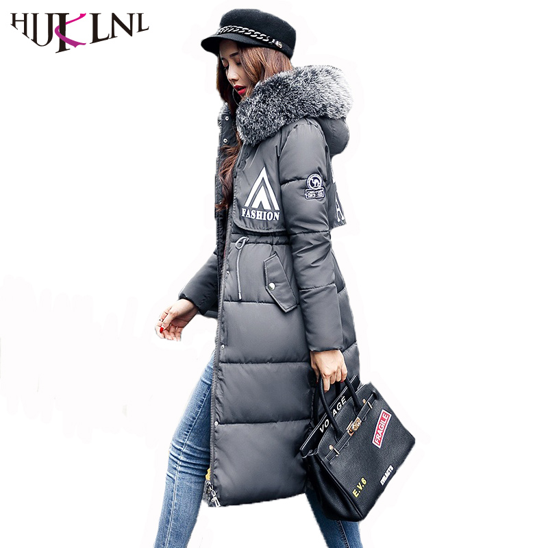 HIJKLNL manteau hiver femme Winter Jacket Women 2017 Hooded Fur Collar Thick Long Winter Coat Letter Printed Parka Mujer NA440 hijklnl women casual letter printed hooded long jacket 2017 winter thick coats female loose overcoat cotton parka mujer na340