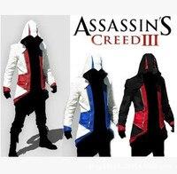 10 unids/lote Assassins Creed 3 III Conner Kenway Capucha Capa de la Chaqueta Assassins Creed assassin Traje Cosplay Capa