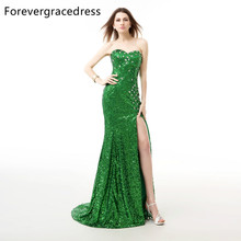 Forevergracedress Real Photos Green Evening Dress New Arrival Mermaid Sleeveless Sequins Split Long Formal Party Gown Plus Size