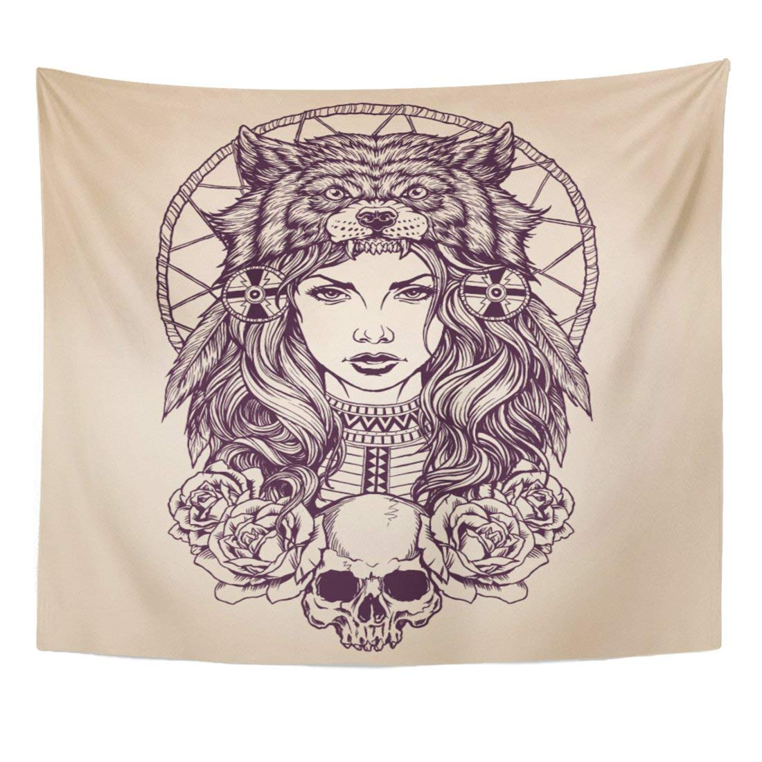 Tapestry Red Tattoo Native American Girl With Wolf