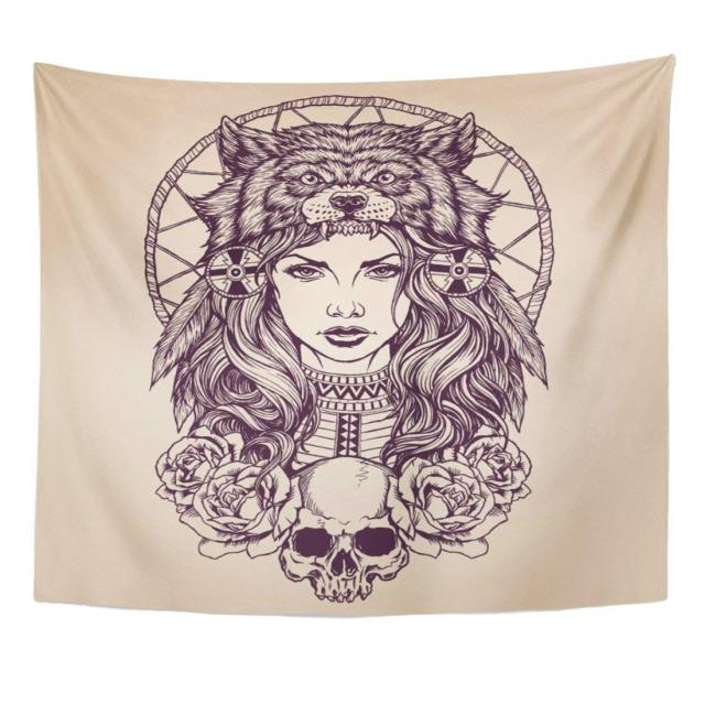 67557eb7ba75c Tapestry Red Tattoo Native American Girl with Wolf Headdress Lineart Indian  Woman Home Decor Wall Hanging for Room