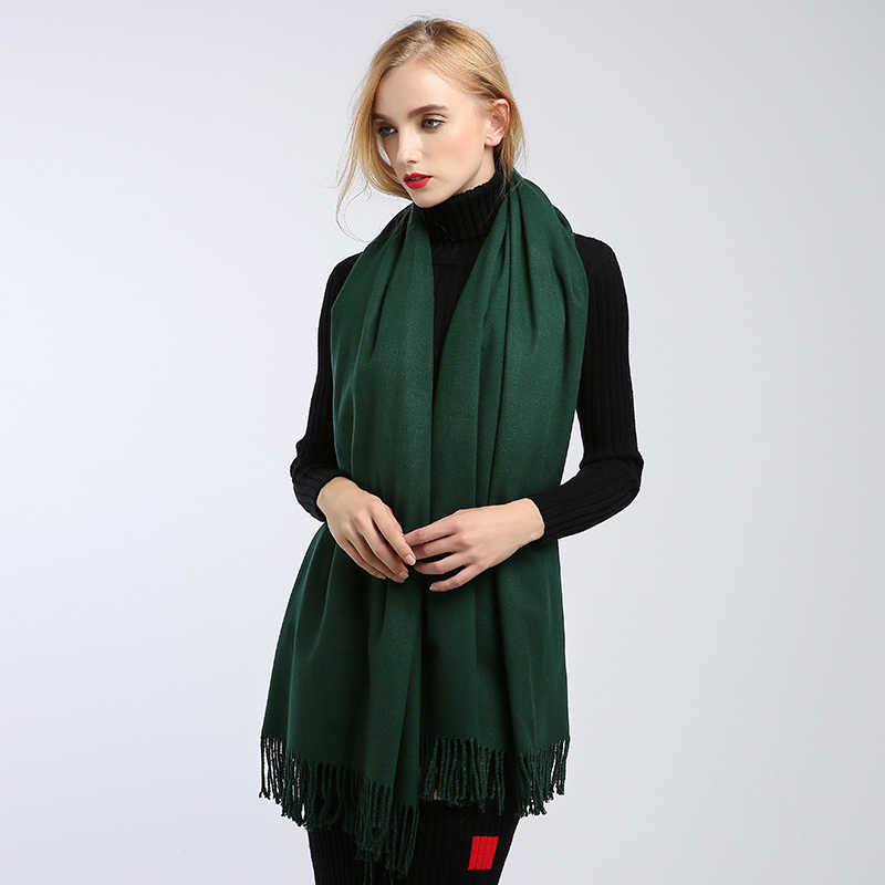 Image 2 - scarves women high fashion 2018 solid green purple shawls and wraps scarf ponchos capes hijab warm cotton women's wool scarf-in Women's Scarves from Apparel Accessories on AliExpress