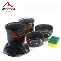 People Outside Camping Pot Couple Sets Of Portable Hard Anodized Picnic Pot Set Piece