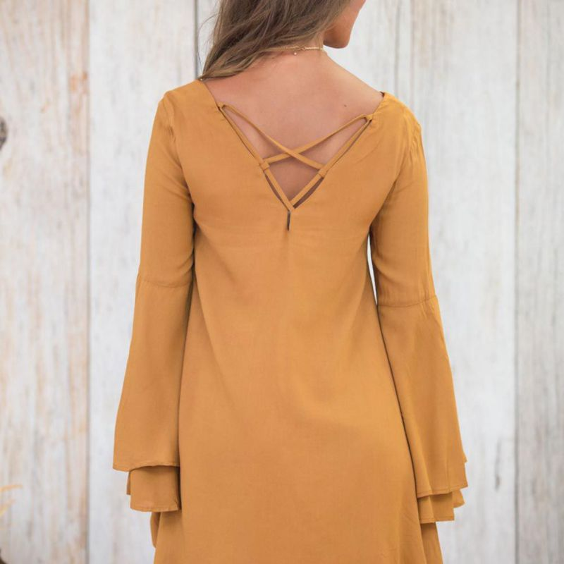 Women 39 s Casual Dress Long Flare Sleeve Brief Loose Dresses Solid Color Dresses in Dresses from Women 39 s Clothing