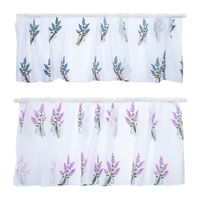 Household Lavender Embroidery Short Curtain Pastoral Shade Kitchen Curtains Half Curtain Short Panel Drapes Valance 50*100cm