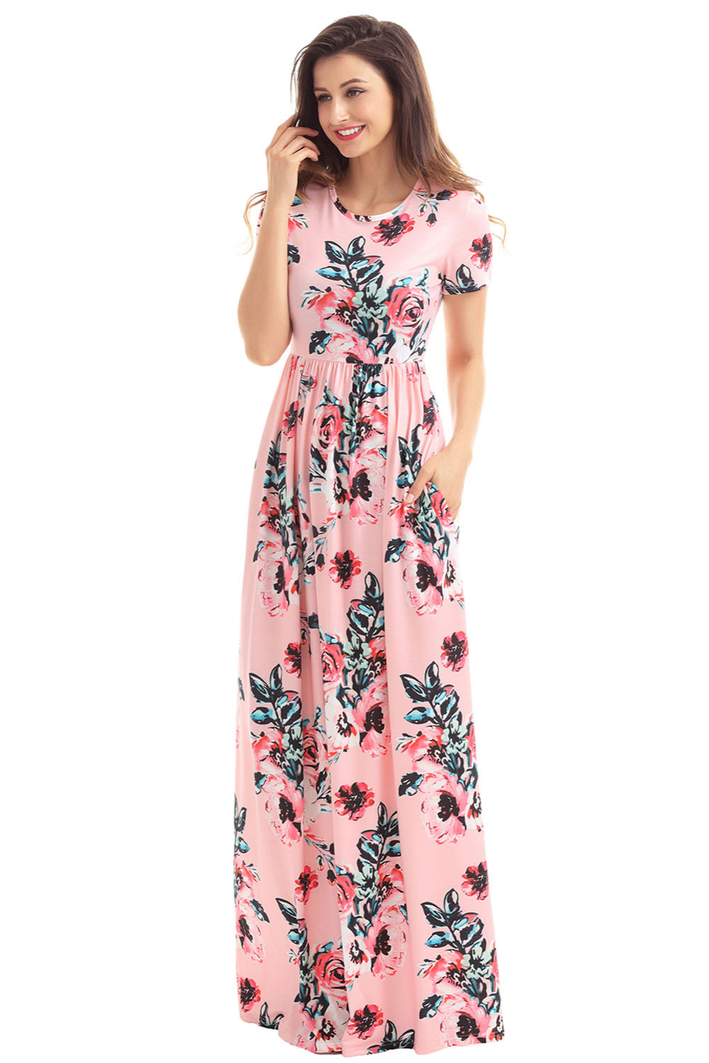 8ac106b638b Pocket Design Short Sleeve Blush Floral Maxi Dress 2017 Elegant Summer  Holiday Beach Party Bohemian Occasion Dresses-in Dresses from Women s  Clothing ...