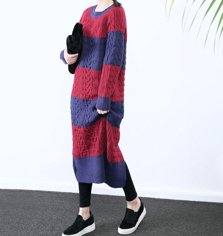 XITAO 2016 new korea fashion autumn winter women O Neck Long knitting loose striped pullover