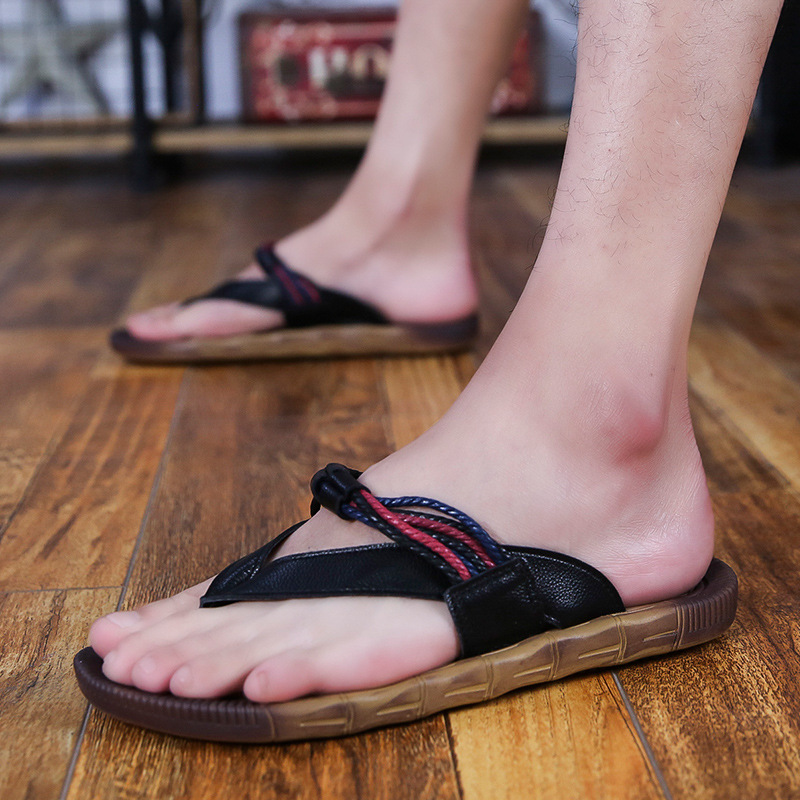 9f597afa9d Thick Soled Beach Fashion Outside Men's Slippers Leisure Concise Microfiber  Summer Flip Flops Narrow Band Mixed