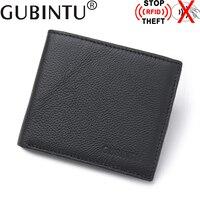 GUBINTU RFID Blocking Wallet Famous Brand Genuine Leather RFID Men Wallet Protection Card Holder Purse Male