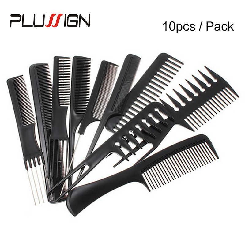 Набор расчесок для волос 10 шт., профессиональная расческа для волос, расческа для стрижки волос для парикмахера, 2020, новая горячая кисть для парика, расческа для бритвы