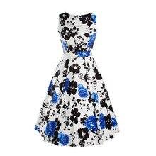 Women's Summer Style China Rose Floral Print Maxi Dresses O-Neck Beach Print Dress Casual Chiffon Sleeveless Dress