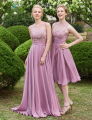 Dressv 2017 pink scoop neck A-line long bridesmaid dress sleeveless zipper up lace floor length bridesmaid dress with sashes
