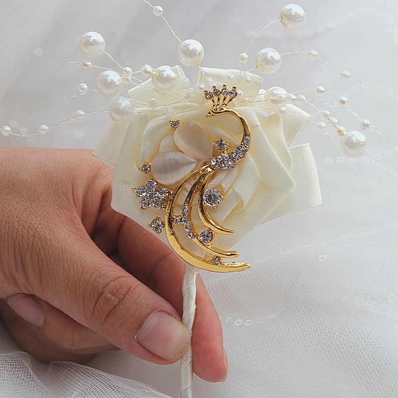Mewah Ivory Rose Bunga Merak Emas Groom Boutonniere Manik-manik Mutiara Bunga Pesta Pernikahan Korsase Pin Bros