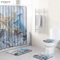 XYZLS Marbling Pattern Shower Curtain Set Polyester Waterproof Bath Curtain 180x180cm With Bathroom Mat Set