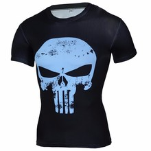 New 2017 Compression Shirt 3D Punisher Skull Captain America Superman T Shirt Fitness Tights Casual Batman Shirts Brand Clothing