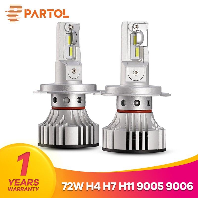 Partol F2 H4 Hi Lo Beam Car LED Headlight Bulbs 72W 6000LM LED H7 H11 9005 9006 Car Lights Automobile  Lamp 6500K 12V 24V